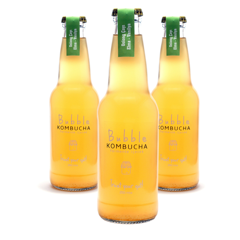 BUBBLE KOMBUCHA ELMA & VANİLYA  250 ML  3'LÜ