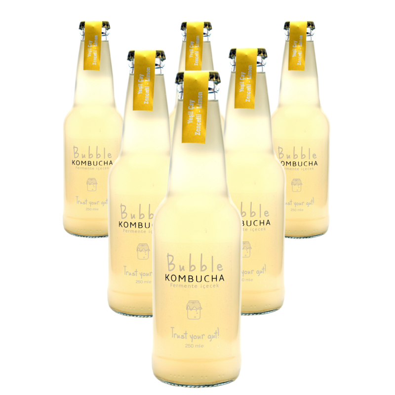 BUBBLE KOMBUCHA ZENCEFİL & LİMON  250 ML 6'LI