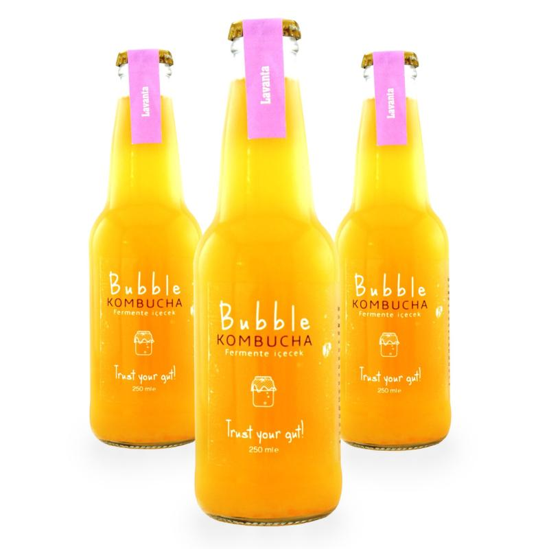 BUBBLE KOMBUCHA LAVANTA & LİMON  250 ML 3'LÜ